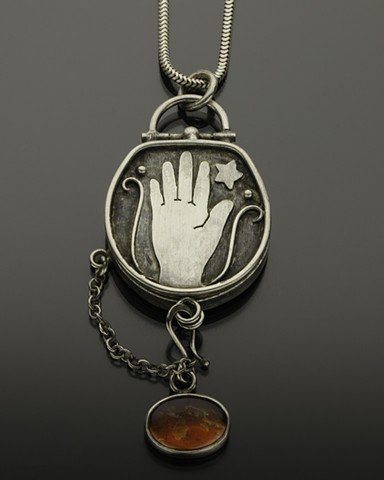 Reach For the Stars Reliquary with Ammolite in Sterling Silver