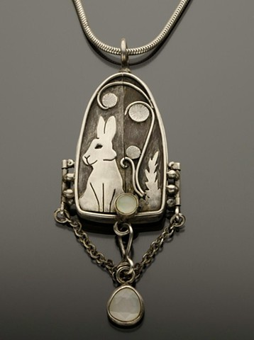 Moonstone Rabbit Reliquary in Sterling Silver
