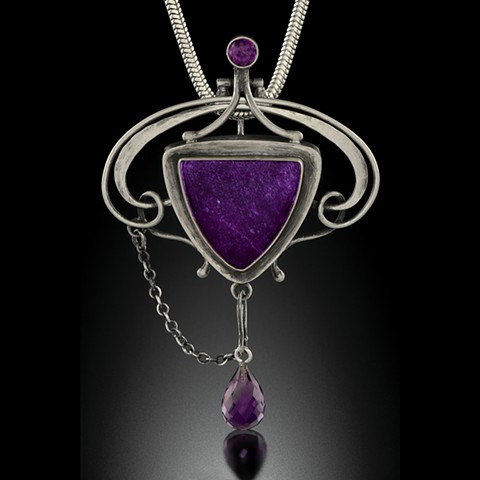 Sugalite and Amethyst Reliquary in Sterling Silver