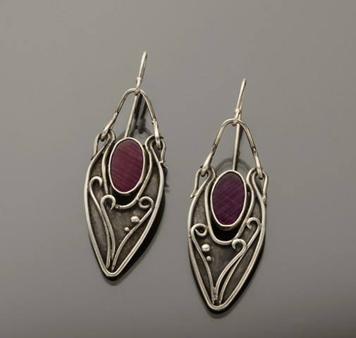 Ruby Slab Hinged Earrings in Sterling Silver