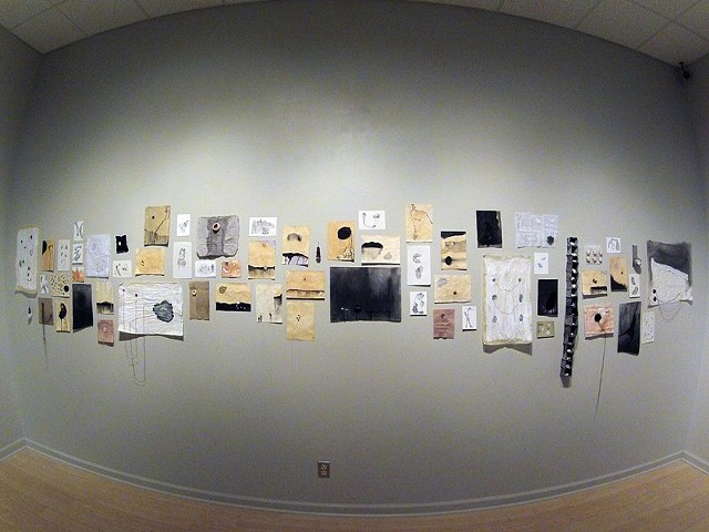 drawing, wax, stitching, trace paper, felt, dye, mixed media, fibers, looping, collection, texture, maps, charts, diagrams