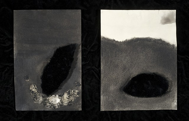 faux fur, tea, charcoal, mixed media, black clouds, weather, landscape