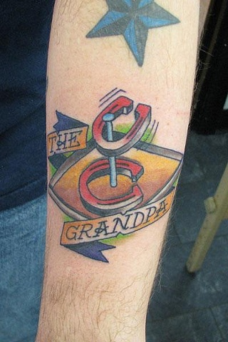 Grandpa Tattoo on Mike from Evil Aardvark Customs