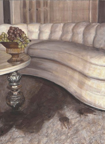 Bowl of Grapes on a White Couch