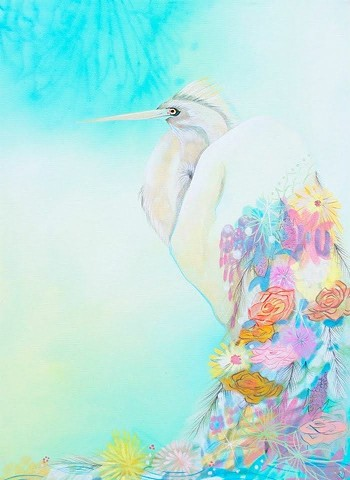 White Heron painting by Anna Todaro Sadur