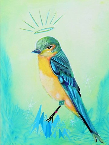 Bluebird in Bloomers painting by Anna Todaro Sadur