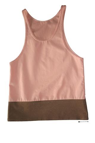 salmon pink and brown corduroy tank top