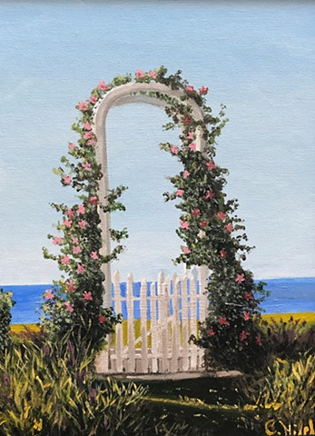 Acrylic Painting of an arbor on beach in Nantucket