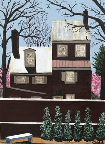 Painting of a historic home on a sunny day.
