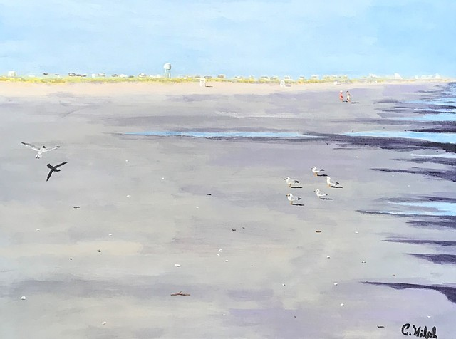 Acrylic Painting of Late Afternoon Beach Scene