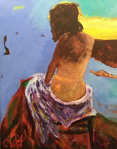 Acrylic painting of woman on stool