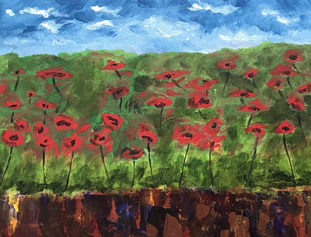 Abstract painting of Poppy Flowers in field