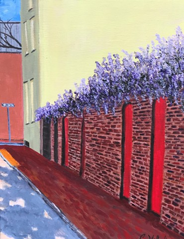 Painting of Wisteria on Wall