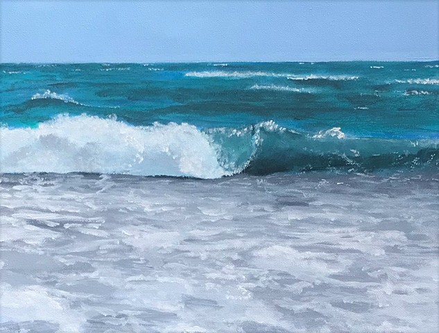 Acrylic Painting of a Breaking Wave