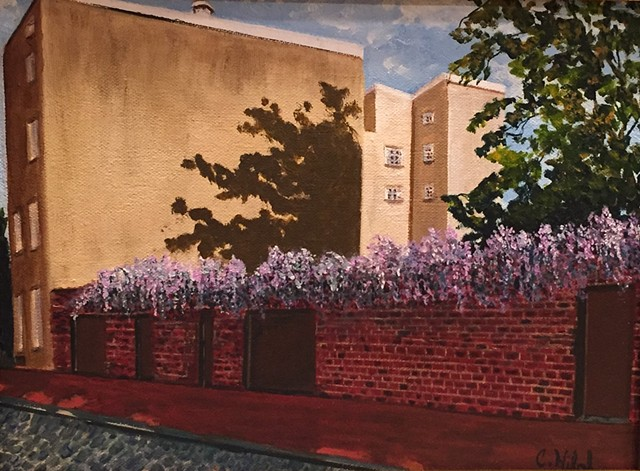 Painting of Wisteria on Brick Wall
