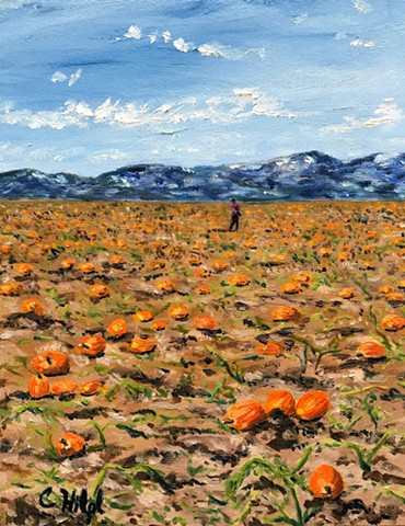Pumpkin Patch Oil Painting