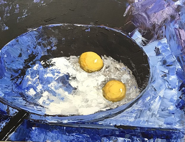 Painting of fried eggs in a pan.