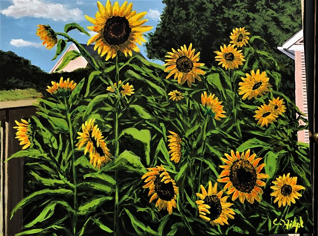 Acrylic Painting of Sunflowers in garden.