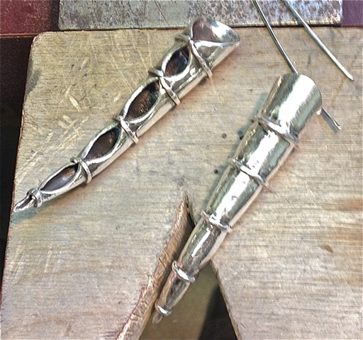 Hammered Fine Silver earrings, organic. Kai Wolter, Metalsmith, Kaiwerx Studio