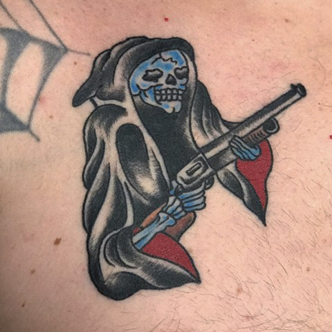 Gun With Flower In Barrel Tattoo - Flowers Healthy
