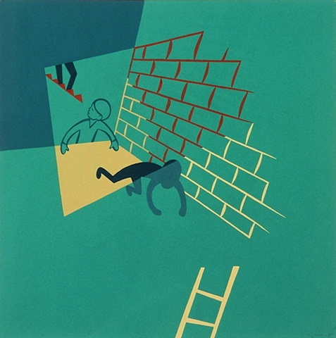 Green, brown, and ochre detail of triptych painting of boys running from shadowy figure on stairs in darkened basement with brick wall and secret compartment with ladder by Steven L Jones