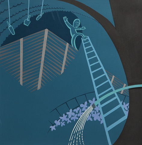 Green, blue, and brown detail of 5-panel painting of boy on slippery ladder beside lynched bottles above flower garden in suburban neighborhood at night by Steven L Jones