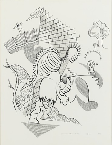 Cartoony ink and pencil drawing of figure in mask with bizarre hunchback construction on back scaring girl in suburban neighborhood with brick house and garden with chicken wire by Steven L. Jones