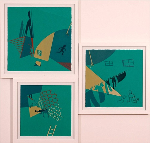 Green, brown, and ochre triptych painting of boys running from shadowy figure in darkened basement with stairs, hanging lightbulb and laundry, flashlight, and secret cmpartment in wall by Steven L Jones