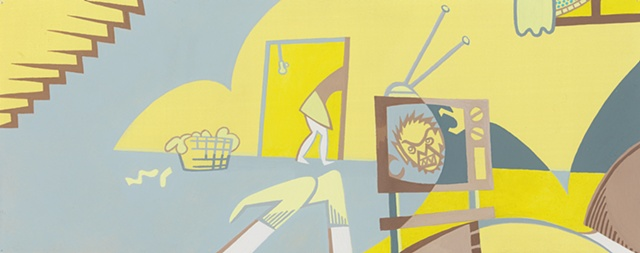 Yellow, gray, and brown painting of boy on sofa in basement watching a monster movie, possibly masturbating, while a woman does laundry by Steven L Jones