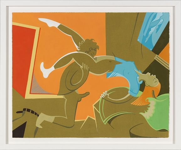 Orange, red, bronze, blue, and green detail of 6-panel painting of adolescent couple having oral sex with apple and superheroine poster by Steven L Jones