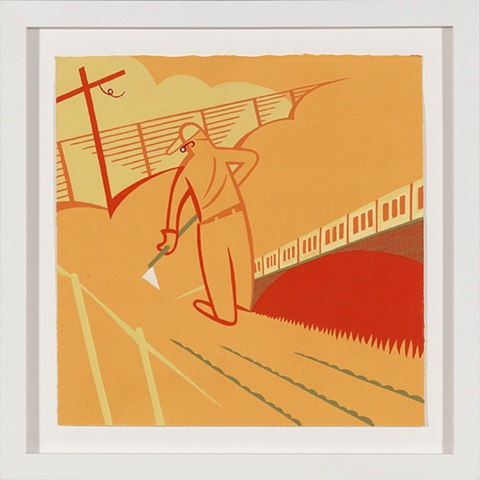 Orange, red, and green detail of 5-panel painting of man gardening with hoe on summer morning beside cross by Steven L Jones