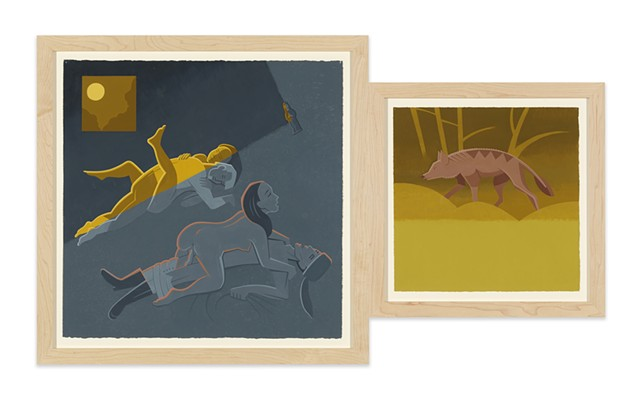 Diptych in brown, gray, and yellow, antique colors, of moonlit night in rural Kentucky cabin with couples having sex below Catholic icon while unknown panther or wolf like beast prowls nearby