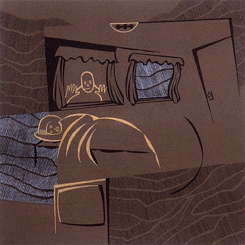 Brown, white, and gold painting of sleeping boy in bedroom with scary figure looking in window by Steven L Jones