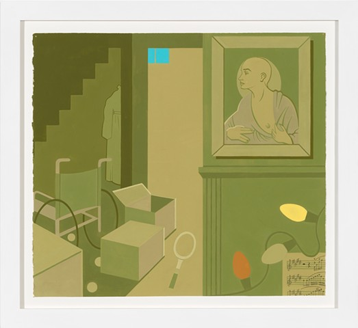Painting in brown, green, orange, blue and yellow of postwar suburban home kitchen, basement, yard and porch, empty with packing boxes after death of parents, sink, wheelchair, piano, Christmas lights, painting of Madonna-like mother baring breast, and in
