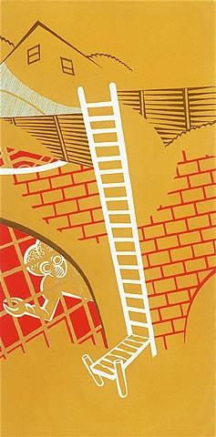 Ochre, red, and blue detail of triptych painting of ladder leading from suburban neighborhood to caged monster and pier on underground stream by Steven L Jones
