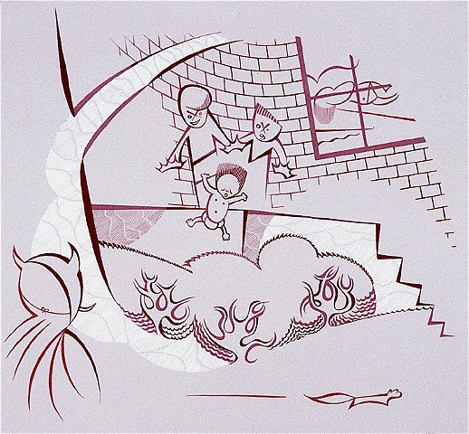 Violet, maroon, and white painting of two boys on a suburban front porch dropping a toddler into the bushes while woman sleeps with running squirrel and child in devil mask by Steven L Jones