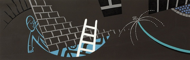 Brown and blue detail of 5-panel painting of boy, ladder, garden hose, and tunnel underhouse with pipes at night in suburban neighborhood by Steven L Jones