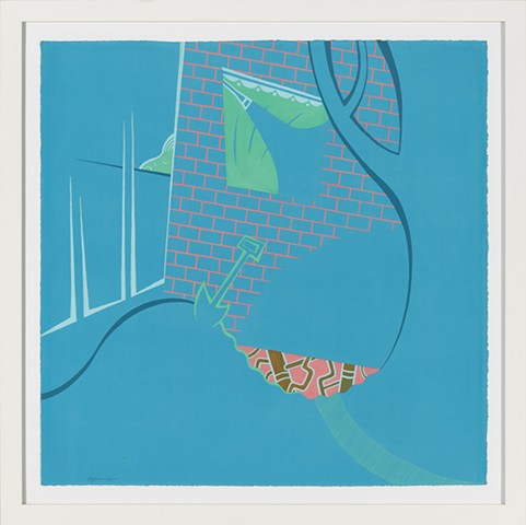 Blue, green, pink, and gold detail of 4-panel painting of suburban house at night with sleeping boy in window, shower, shovel, underground pipes, and mysterious trail by Steven L Jones