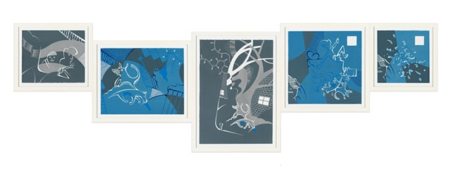 Blue, gray, and white 5-panel painting of frightened boys in car, frozen dogs in suburban neighborhood at night during winter, Christmas lights and snow, and boys indoors where one falls and shatters like ice by Steven L Jones