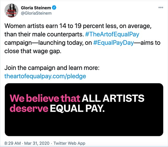 Gloria Steinem promoted the Art of Equal Pay on March 31, 2020, Equal Pay Day.