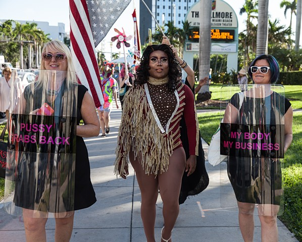 Parade Against Patriarchy Miami Beach, Miami Art Week  With Jean Chadbourne and our amazing Grand Marshall Mh'iya.
