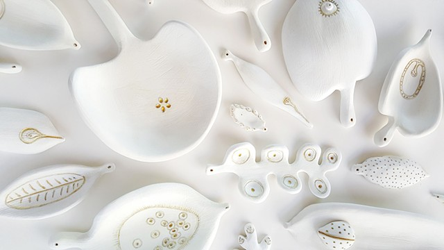 porcelain leaf forms by Mary Meyer