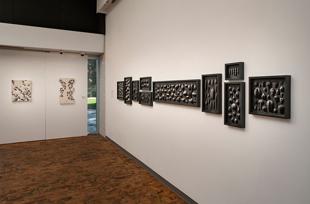 Forms of Life | black clay, graphite, gold pigment, pins, wood panels | Wall installation 14 ft.