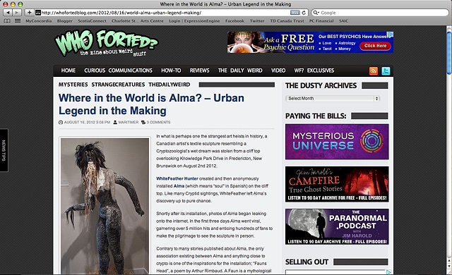 Alma on Who Forted? Web-zine
