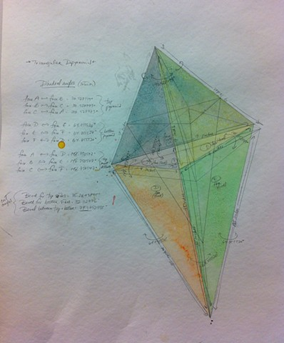 Triangular Dipyramid, sketch with mathematical specs