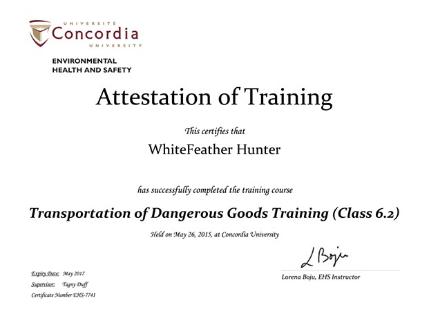 Transportation of Dangerous Goods Training (Class 6.2), Lab Safety Training Certification