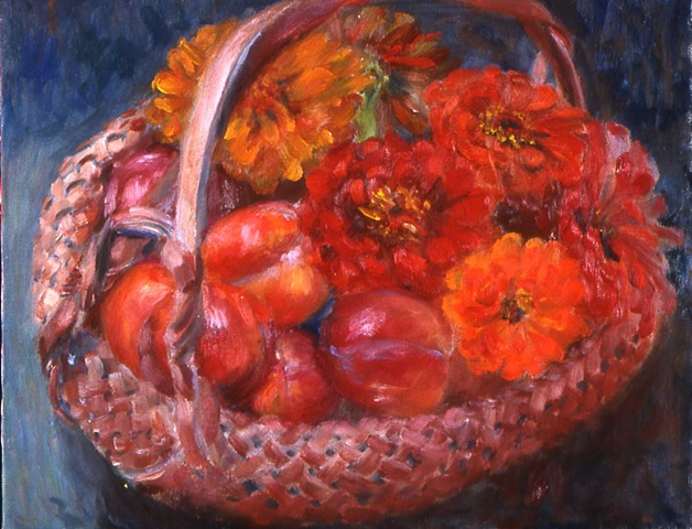 Zinnias and Plums in Chinese Basket