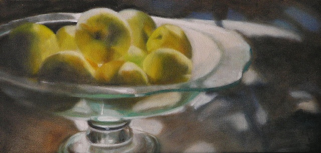 Afternoon Sun on glass bowl with yellow apples
