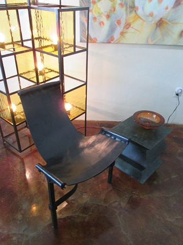 Custom Light Sculpture With Leather Sling Chair