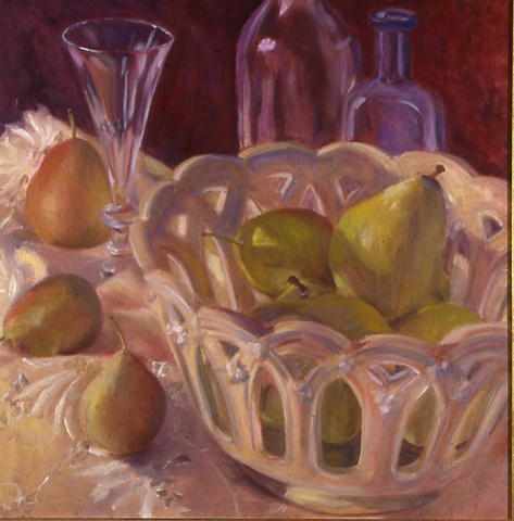 Weller pierced bowl with pears and glass